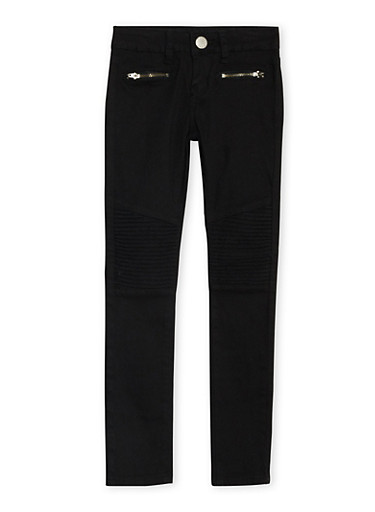 Girls 7-16 VIP Skinny Moto Jeans,BLACK,large