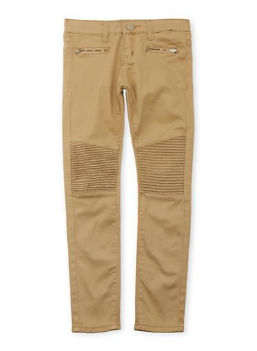 Girls 7-14 VIP Jeans Moto Twill Stretch Pants,KHAKI,large