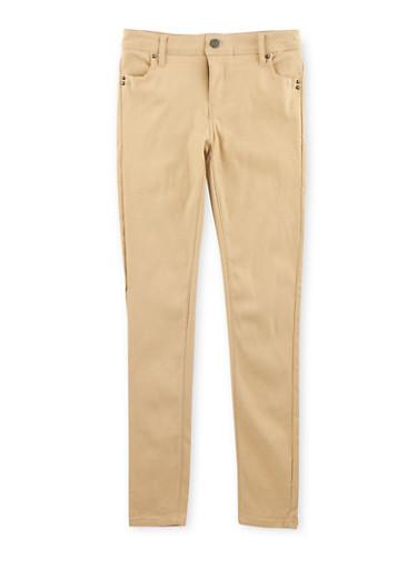 Girls 7-16 Stretch Skinny Pants,KHAKI,large