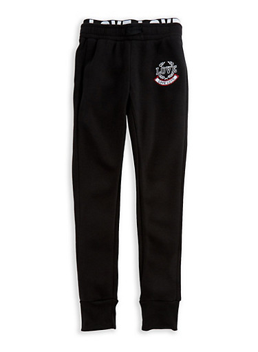 Girls 7-16 Love Elastic Joggers,BLACK,large