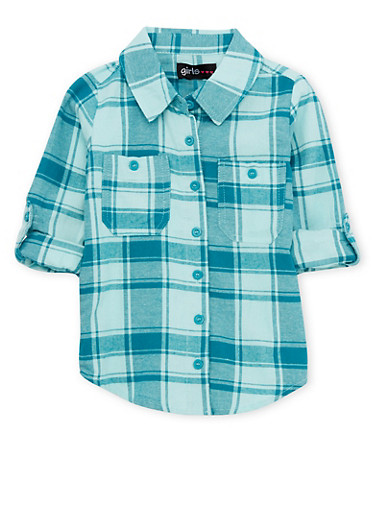 Girls 4-6x Plaid Button Down Shirt with Pockets,GEM/MINT,large