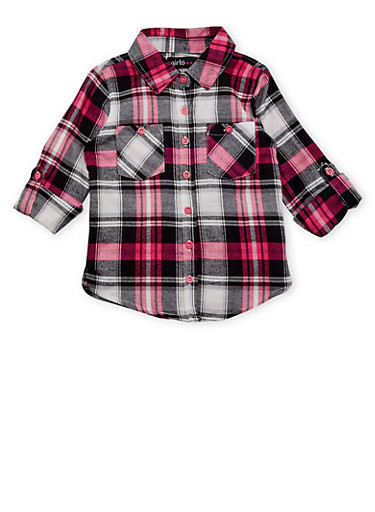 Girls 4-6x Plaid Flannel Button Front Top,BLK/WHT/PINK,large