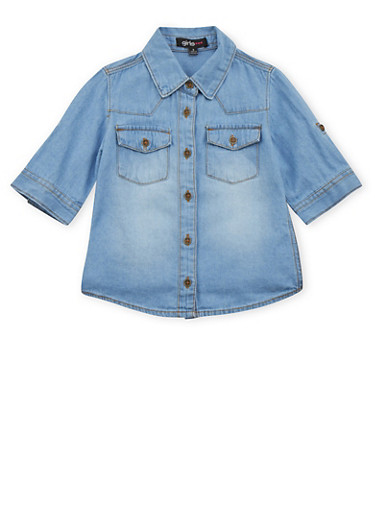Girls 4-6x Chambray Button Up Top,DENIM,large