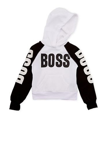 Girls 5-6x Hoodie with Boss Print,BLACK,large