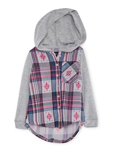 Girls 4-6x Plaid Shirt with Contrast Hood and Sleeves,NAVY,large