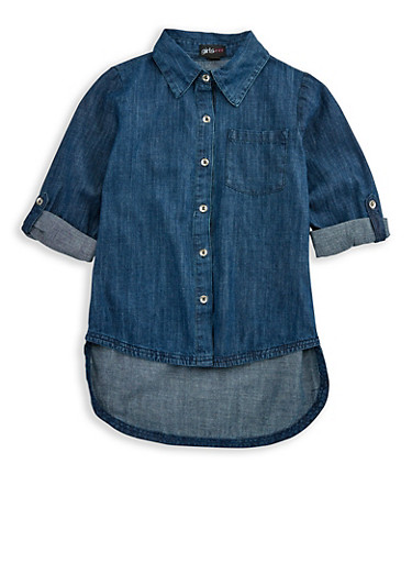 Girls 4-6x High Low Denim Shirt,DENIM,large