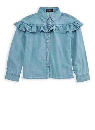 Girls 4-6x Long Sleeve Denim Shirt with Ruffles,LIGHT WASH,large