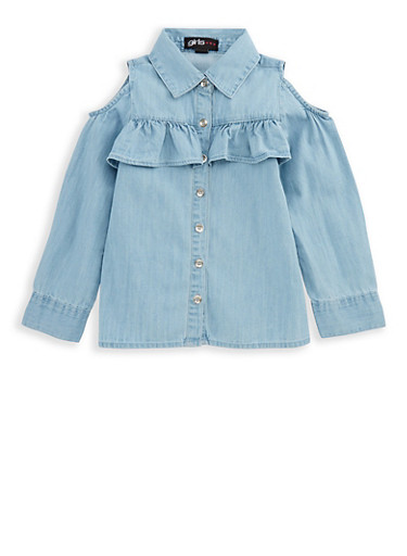 Girls 4-6x Ruffled Cold Shoulder Denim Top,DENIM,large
