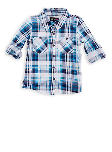 Girls 4-6x Plaid Top with Tab Sleeves,TEAL,large