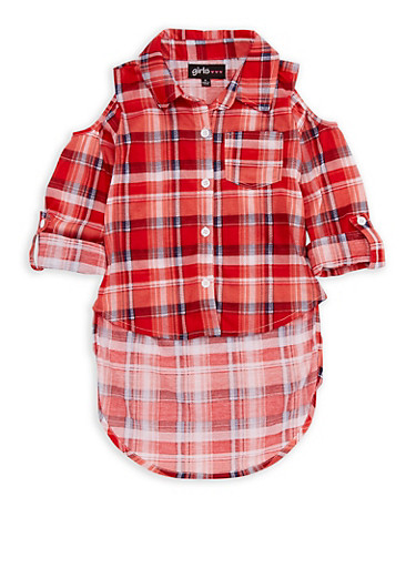 Girls 4-6x Cold Shoulder Plaid High Low Top,RED,large