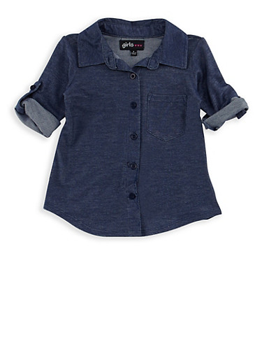 Girls 4-6x High Low Denim Knit Top,DENIM,large
