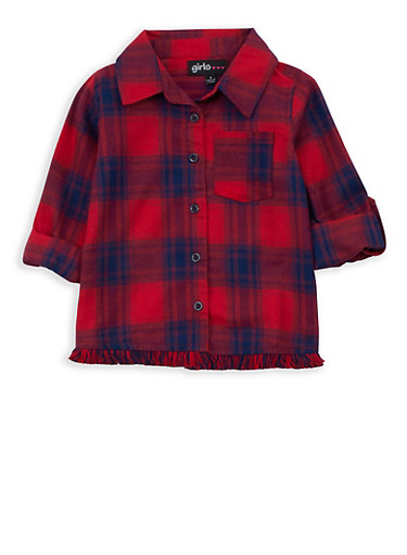 Girls 4-6x Plaid Button Front Frayed Hem Top,RED,large
