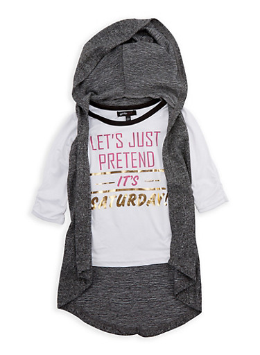 Girls 4-6x Lets Just Pretend its Saturday Graphic Top with Removable Hooded Vest,CHARCOAL,large