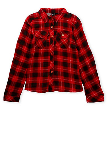 Girls 4-6x Plaid Button Up Top,RED,large