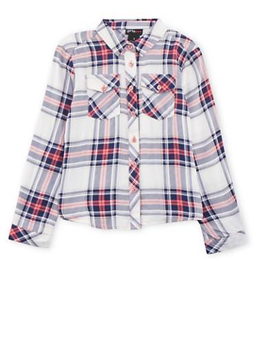 Girls 4-6x Plaid Button Front Shirt,WHITE,large