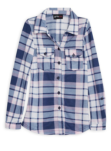 Girls 4-6 Plaid Button Down Shirt with Convertible Sleeves,PINK,large