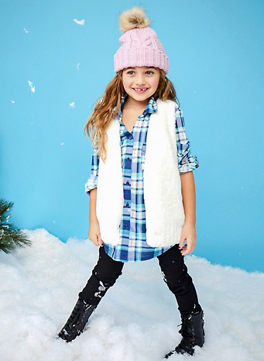 Girls 4-6 Plaid Top with Buttoned Pockets,TEAL,large