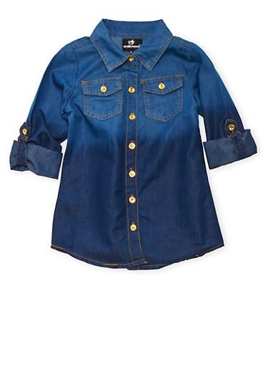 Girls 4-16 Ombre Denim Top,BLUE,large