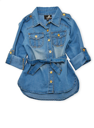 Girls 4-6x Belted Denim Top,MEDIUM WASH,large