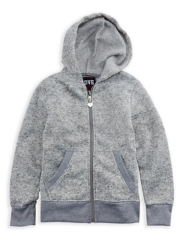 Girls 4-6x Fleece Lined Zip Up Sweater,DARK GREY,large