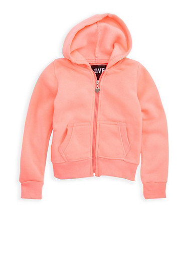 Girls 4-6x Solid Zip Up Hooded Top,NEON PINK,large