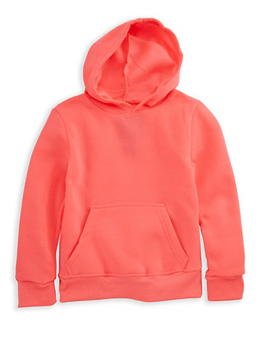 Girls 4-8 Pullover Long Sleeve Hoodie,NEON PINK,large