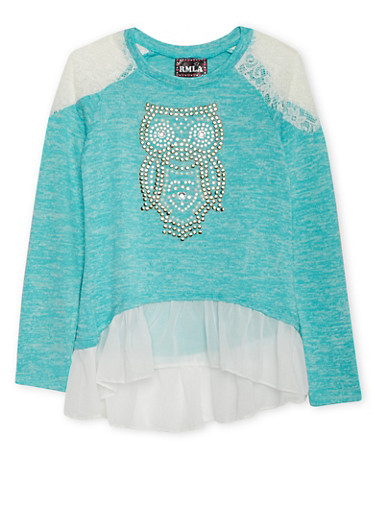 Girls 7-14 Knit High Low Top with Lace Panels and Studded Owl,SEAFOAM,large