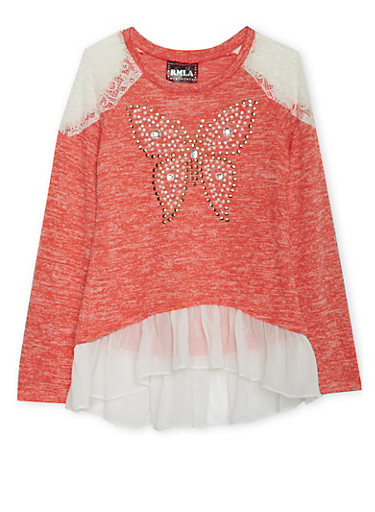 Girls 7-14 Studded Butterfly Sweater with Chiffon Trim,CORAL,large