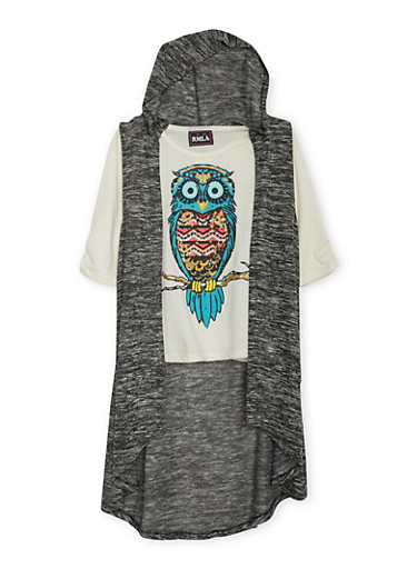 Girls 7-14 Owl Print Top and Hooded Marled Knit Vest,BLACK,large