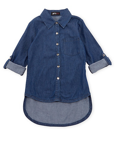 Girls 7-16 Chambray Top with High-Low Hem,DENIM,large