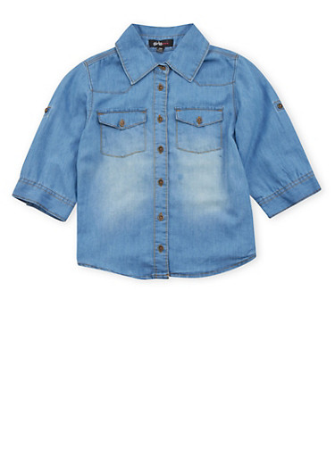 Girls 7-16 Chambray Button Up Top,DENIM,large