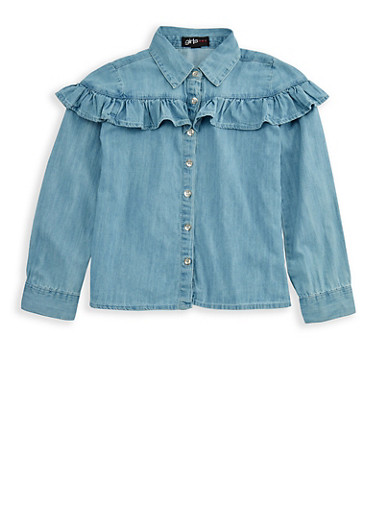 Girls 7-16 Long Sleeve Ruffled Denim Top,DENIM,large