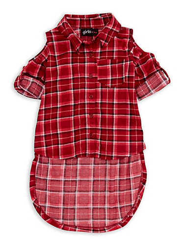 Girls 7-16 Cold Shoulder Plaid High Low Top,WINE,large