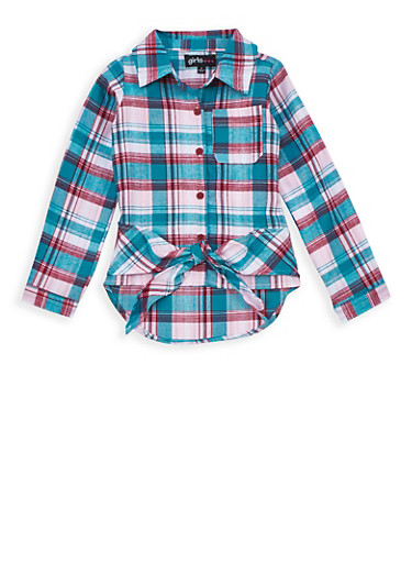 Girls 7-16 Plaid Button Tie Front Top,JADE,large