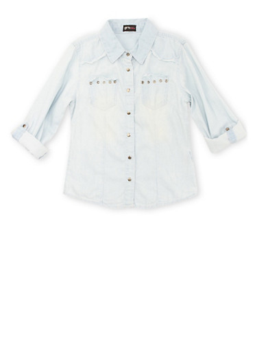 Girls 7-16 Frayed Chambray Button-Down Top with Studded Pockets,LIGHT WASH,large