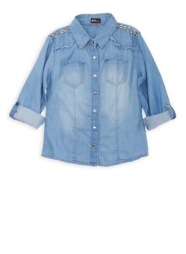 Girls 7-16 Chambray Shirt Dress with Studded Shoulders,MEDIUM WASH,large