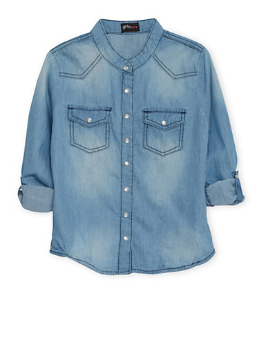 Girls 7-16 Western Chambray Button Up Top,MEDIUM WASH,large