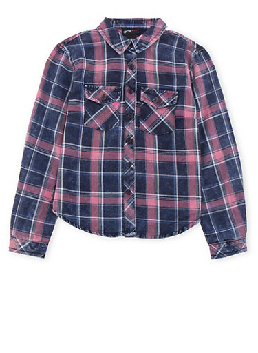 Girls 7-14 Denim Plaid Shirt,MAUVE/NAVY,large