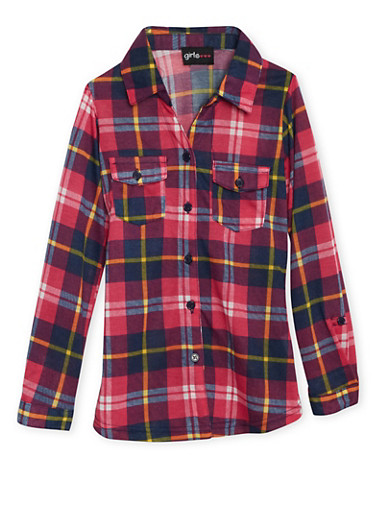 Girls 7-16 Plaid Shirt with Pockets and Multicolored Print,FUCHSIA,large