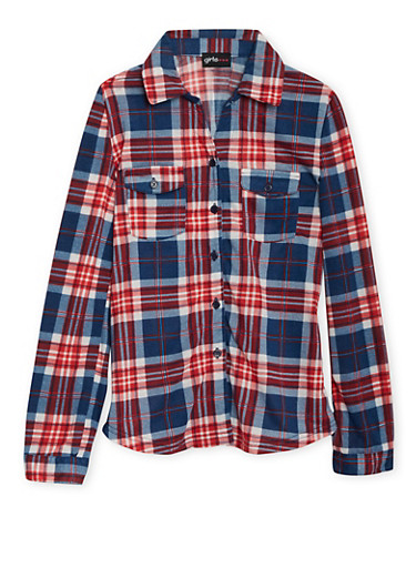 Girls 7-16 Button Down Shirt with Plaid Print,RED,large