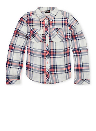 Girls 7-16 Plaid Shirt,WHITE,large