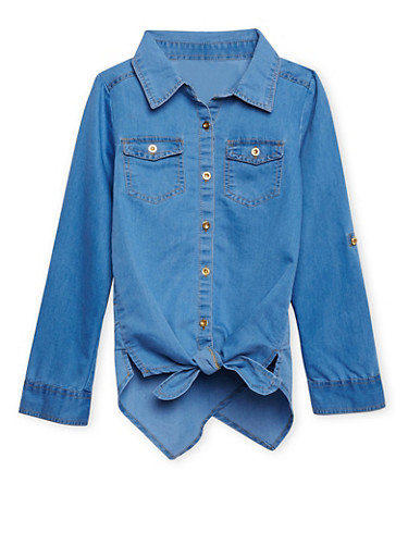 Girls 7-16 Tie-Front Chambray Shirt with Crossover Hem,MEDIUM WASH,large