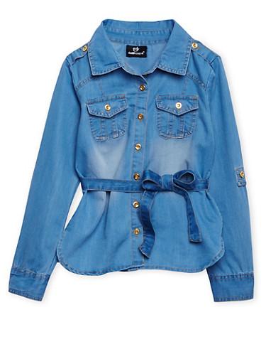 Girls 7-16 Belted Denim Shirt with High-Low Hem,MEDIUM WASH,large