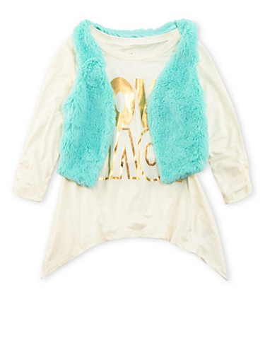 Girls 7-16 Love Graphic Top with Plush Vest Set,IVORY/MINT,large