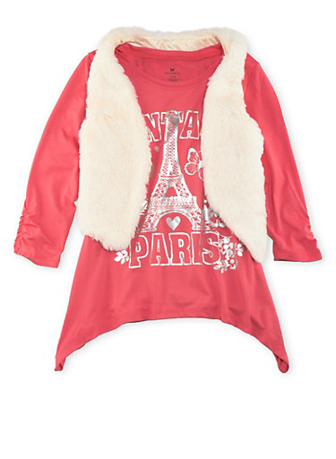 Girls 7-16 Paris Graphic Top with Plush Vest Set,CORAL/WHITE,large