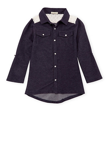 Girls 7-16 Knit Denim Top with Lace Yoke,DENIM,large