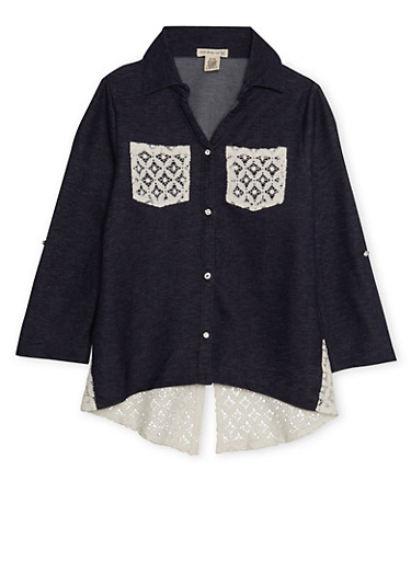 Girls 7-16 Knit Denim Tunic Top with Lace Trim,DENIM,large