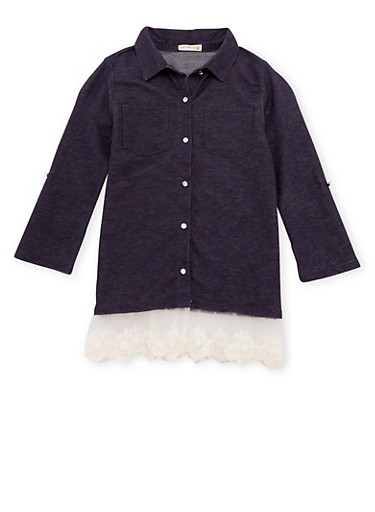 Girls 7-16 Chambray Tunic Top with Crochet Paneling,DENIM,large