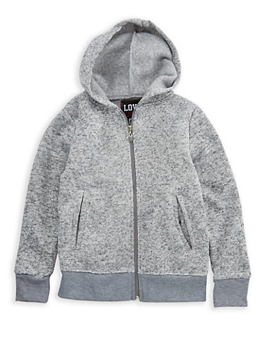 Girls 7-16 Fleeced Line Zip Up Hoodie,CHARCOAL,large