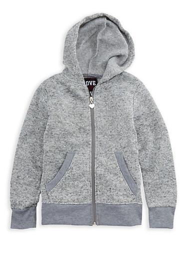 Girls 7-16 Fleece Lined Zip Up Sweater,LT GREY,large